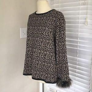 Vintage leopard print sweater feather sleeve